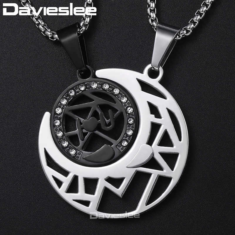 734cfe14fa Davieslee Womens Men's CZ Sun Moon Puzzle Couple Pendant Lover Stainless  Steel Pendant Necklace Dropshipping Jewelry