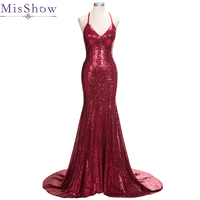 Sexy Prom Dresses 2018 Long Shiny Sequins Evening Party Gowns Mermaid Style Spaghetti Straps V Neck Cross back formal dresses