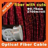 Livraison gratuite, 0.75 mm / 2700 m, Étincelle éclairage latéral avec des coupes, Haute luminosité, En plastique câble de fiber optique lumière