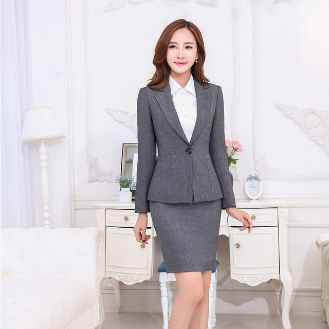 Spring Autumn Women Business Suits Formal Office Work Gray Skirt And Blazer Sets Slim Las