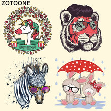 ZOTOONE Iron on Transfer Patches for Clothes Unicorn Tiger Patch Decoration DIY Stripes Applique T-shirt Custom Stickers E
