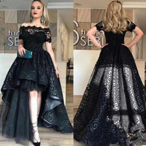 Fashion Black Short Sleeve Evening Gown Lace Appliques High Low Style Dress  for Wedding Party Custom Made f0dff90551c3