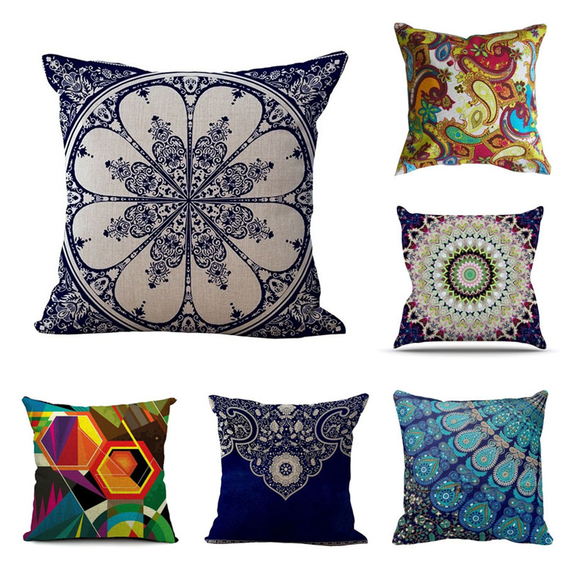 Car-Covers 18 Inches Paisley Cotton Linen Cushion Cover Bohemian Style Car Sofa Pillowcase Throw Pillow Cover Home Decor