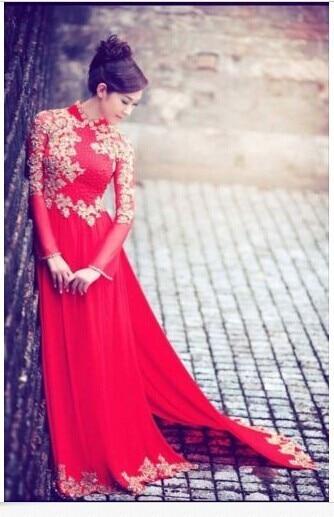Vietnamese Traditional Dress Wedding Ao Dai Long Tan