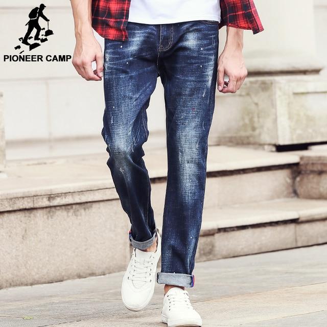 c7011cd9089 Campamento de pioneros Nueva llegada de los hombres Jeans marca Hombre  Pantalones ropa recta Azul de