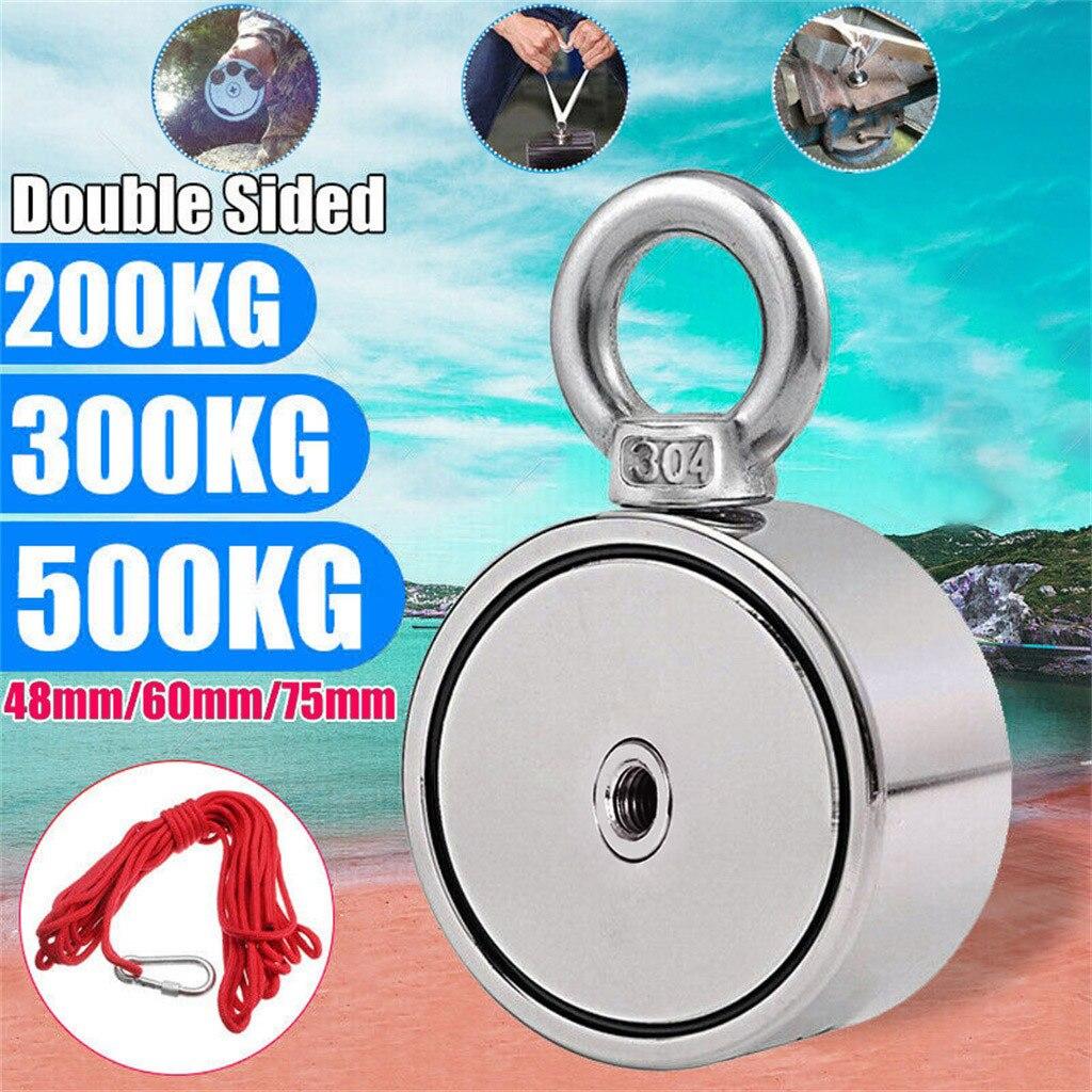 Aimant 2019top 500 KG Double face néodyme métal aimant détecteur Kit de pêche + 10 M corde G90607