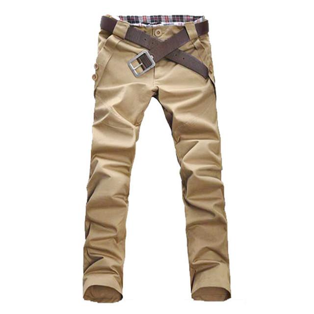 Novo 2017 Primavera Outono Mens Moda Calças, masculino Casual Slim Fit Calças Retas Longas, tamanho M para 3XL