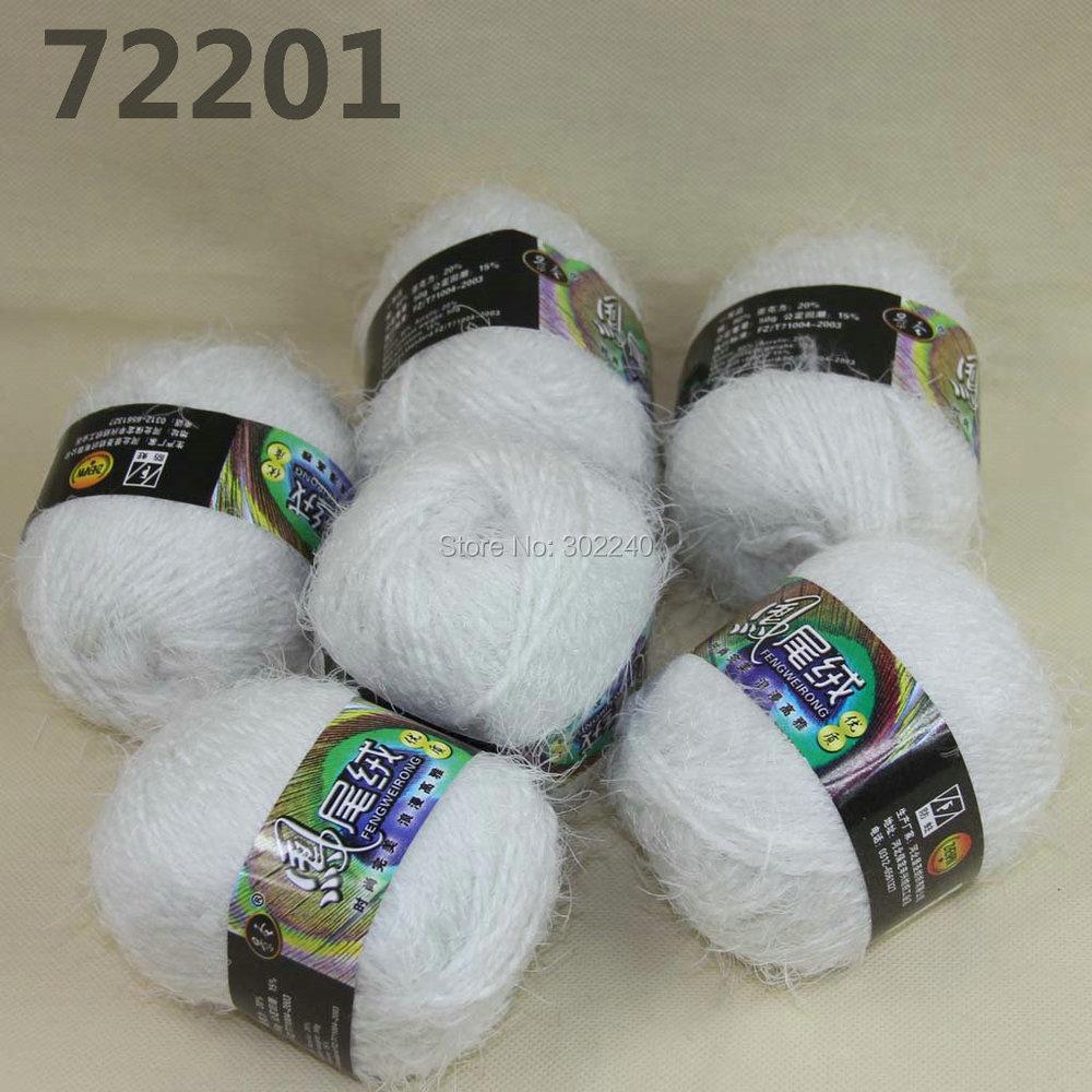 ⑥6 madejas x 50g suave pestaña tejida a mano tejer Hilado blanco ...