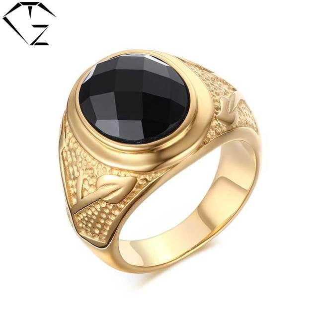 5e7a09cf8bbe Oro amarillo color anillo nueva moda punk 316l acero inoxidable negro piedra  Anillos para hombres joyería