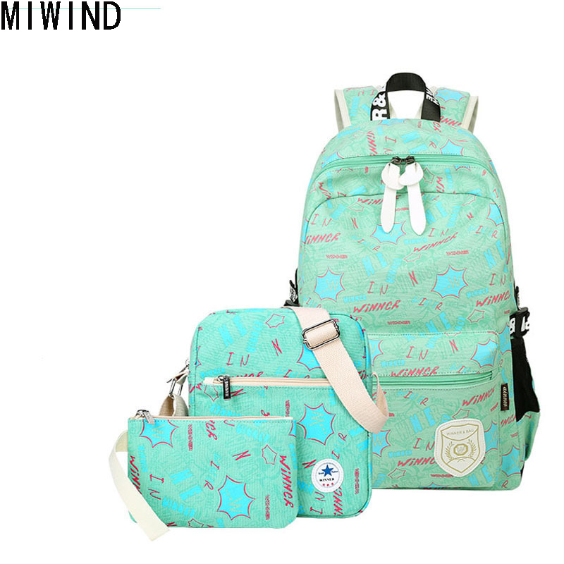 MIWIND Brand Set Backpack Women Backpacks Preppy Style School Bags for Teenage Girls Printing Backpack Fashion Travel Bags Y1214 2pcs set preppy style canvas backpack women letter printing backpacks school bags for teenager girls schoolbag female travel bag