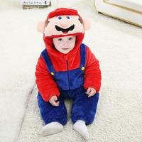 Androktone Winter Children Super Mario Onesie Kids Girls Boys Warm Soft Pamjams Animal Cosplay Pajamas Halloween
