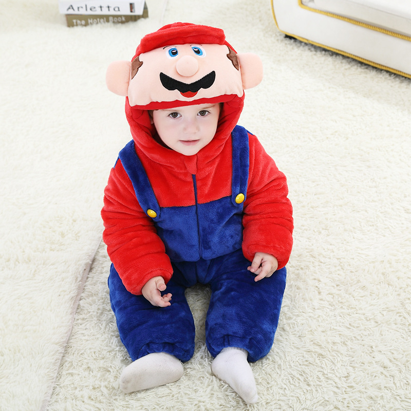 Androktone Winter Children Super Mario Onesie Kids Girls Boys Warm Soft Pamjams Animal Cosplay Pajamas Halloween Costumes Romper