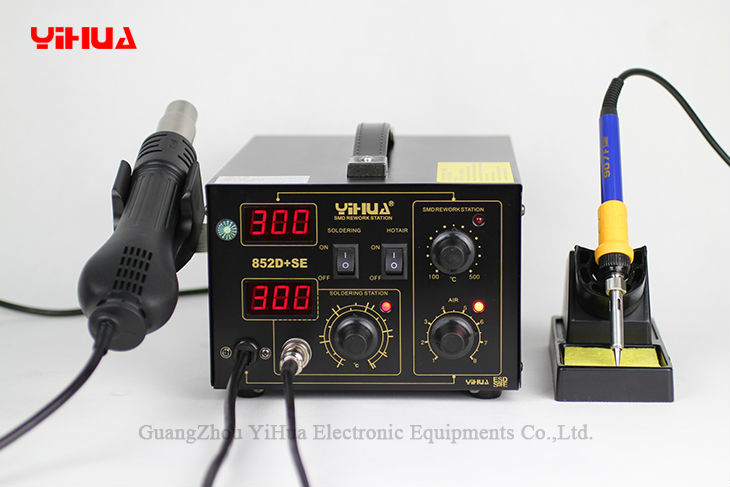 YIHUA 852D+SE Standard Rework Station Soldering iron Hot Air Rework Station Hot Air Gun soldering station 220V /110V EU/US PLUG