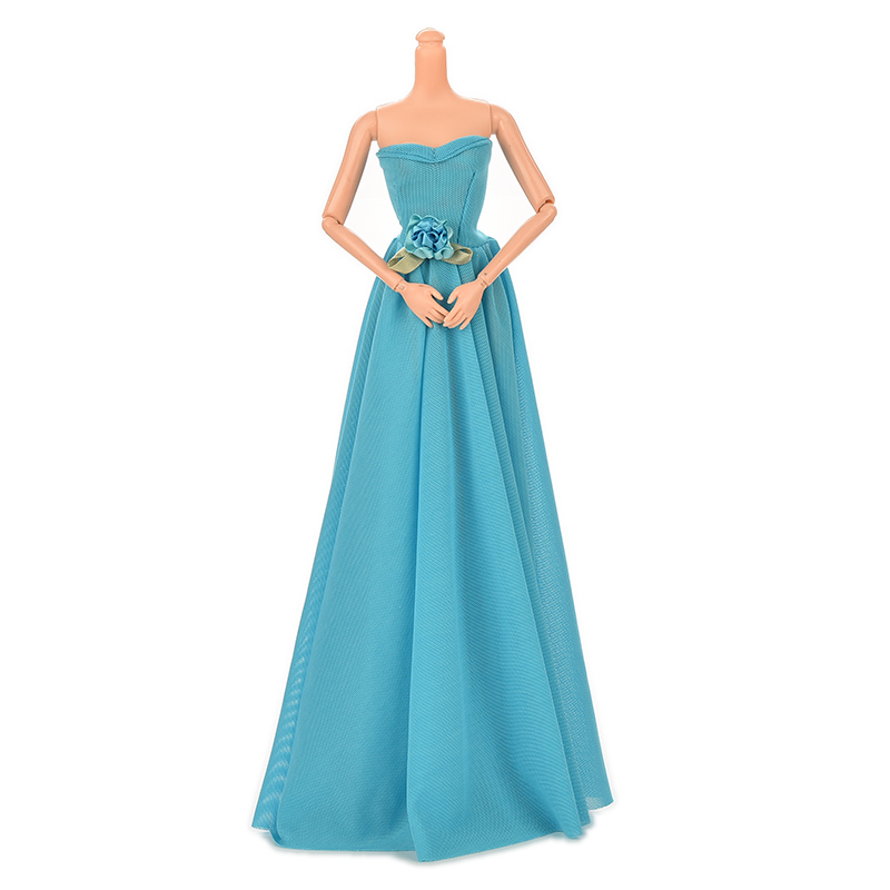 Flowers Clothes Gown Evening Wedding Dress For Barbie Party Dress For Barbie 1pcs  Blue Party Doll Dress For Barbie