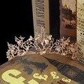 Золотой Цветок Свадебный Венец Диадемы Горный Хрусталь Женщины Свадебные Диадема, Аксессуары Для Волос
