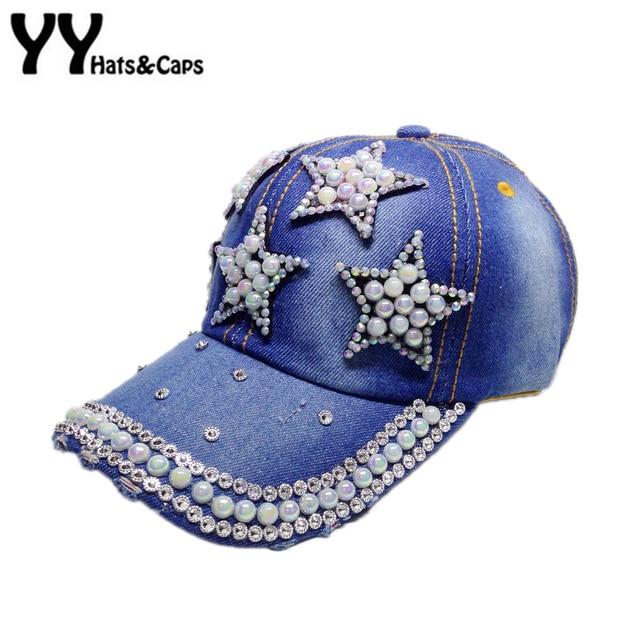 Mode Cotton Jean Topi Wanita Berlian Imitasi topi Mutiara Bintang jean  snapback topi Baseball cap Lady a4c8dc183b
