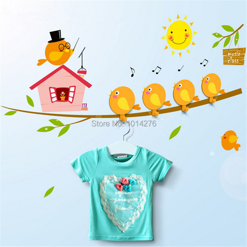 4 Pieces pack Cute Cartoon Bird Train Ballon Home DIY Wall Stickers Hooks Hanger for Children