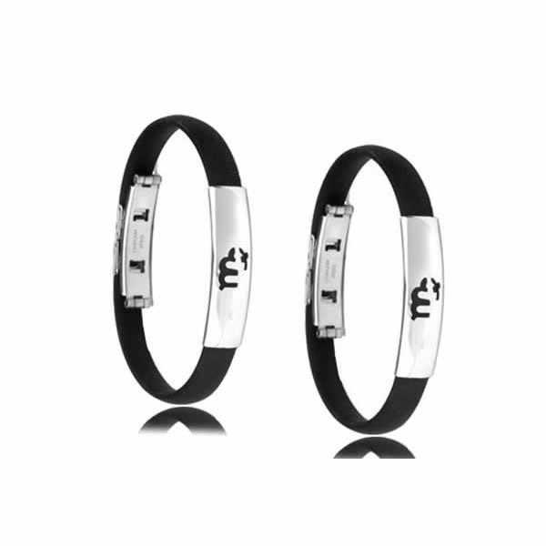 Moda biżuteria czarny 12 konstelacji silikonowe bransoletka Punk gumowa bransoletka srebrny ze stali nierdzewnej mężczyzn bransoletka bransoletka opaski na rękę