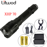 Litwod Z90P78 Original CREE XHP70.2 32w chip lamp powerful zoom lens Tactical LED Flashlight torch 26650 and 18650 Battery