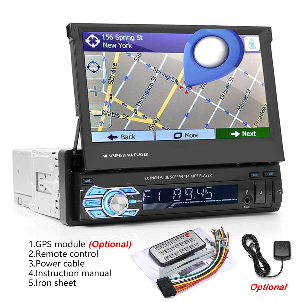 Camecho Car Stereo audio Radio Bluetooth 1DIN 7