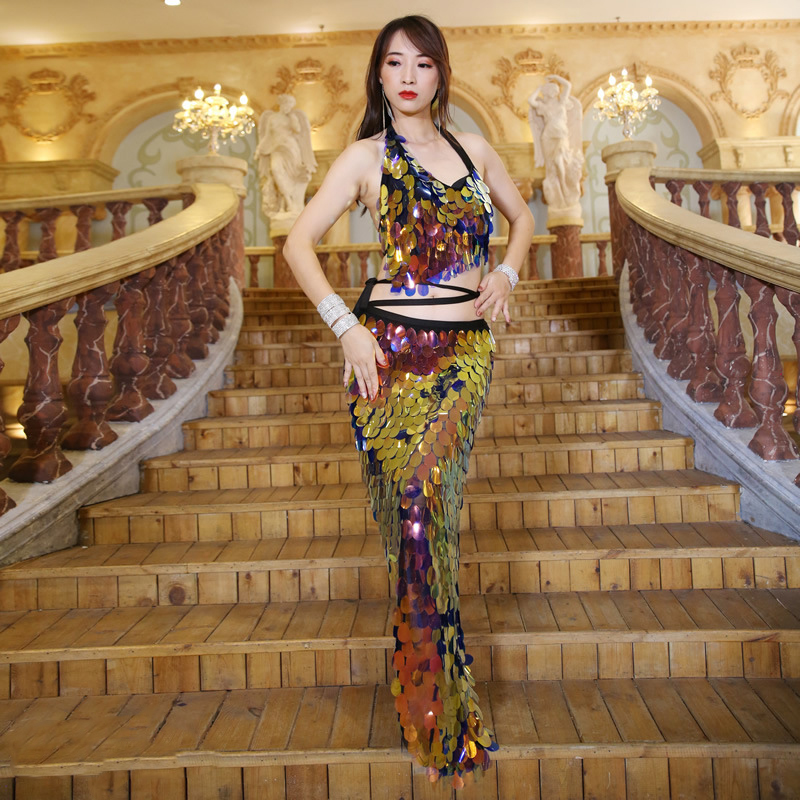 Oriental Dance Belly Dance Dress Sequins Bellydance Top With Skirt Women Professional Bellydance Clothes For Practice