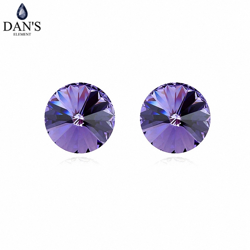 DANS 7 Colors Real Austrian crystals Stud earrings for women Earrings s New Sale Hot Round 96554Tanzanite