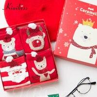 Kinikiss Women Christmas 4 Pairs Socks Red Happy Socks Length Winter Warm Cute Carton Socks Female