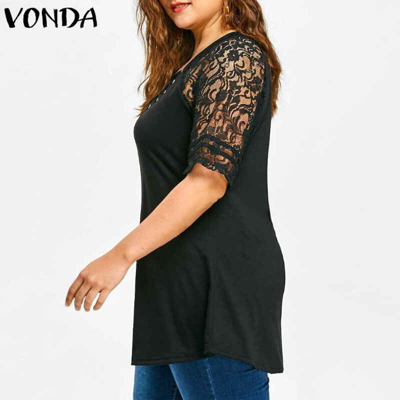 Women Lace Shirt 2018 Summer Sexy V Neck Short Sleeve Casual Loose Blouses Patchwork Bandage Black Tee Tops Plus Size Hollow Out 3