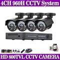Segurança cctv 4ch h.264 rede dvr 800tvl night vision camera kit sistema de vigilância de vídeo em casa motion detecção de alarme de e-mail