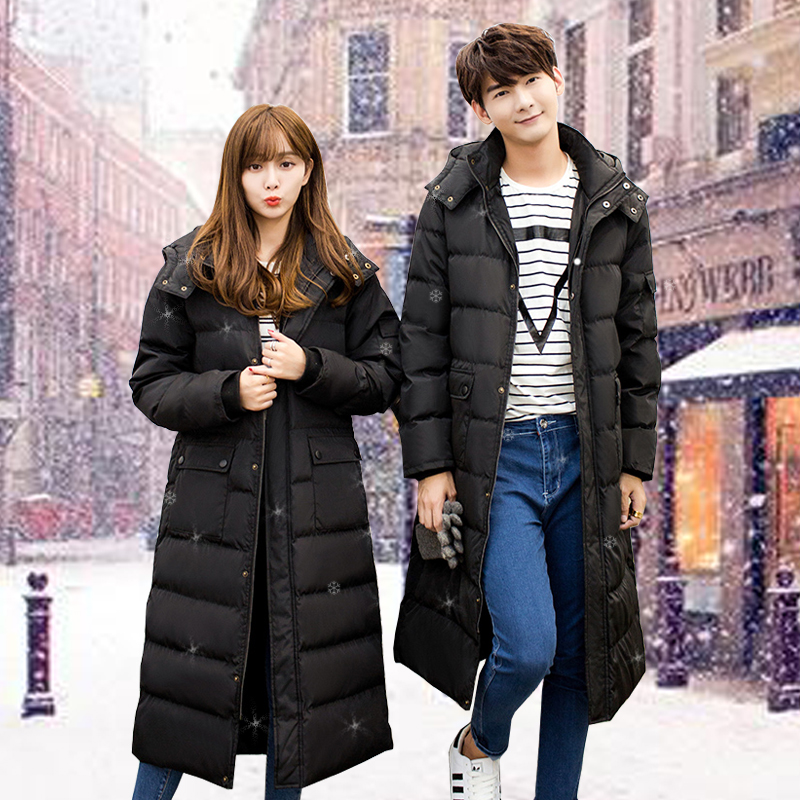 The long winter coat in the green feather padded knee long coat Korean men and women