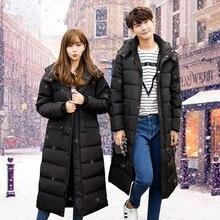 Долгие зимние пальто в зеленый перо мягкий колено длинное пальто Корейских мужчин и женщин любителей одежды толстый хлеб