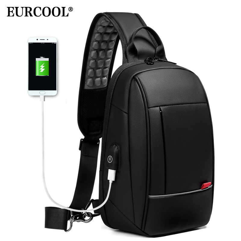 EURCOOL 9.7 inch iPad Shoulder Bag for Men Business Crossbody Bags USB Charging Chest Pack Waterproof Messenger Bag Male n1909