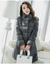 Подлинная Природный Настоящее кроличий мех пальто Женская мода средней длины Стенд воротник пальто осень и зима теплая куртка