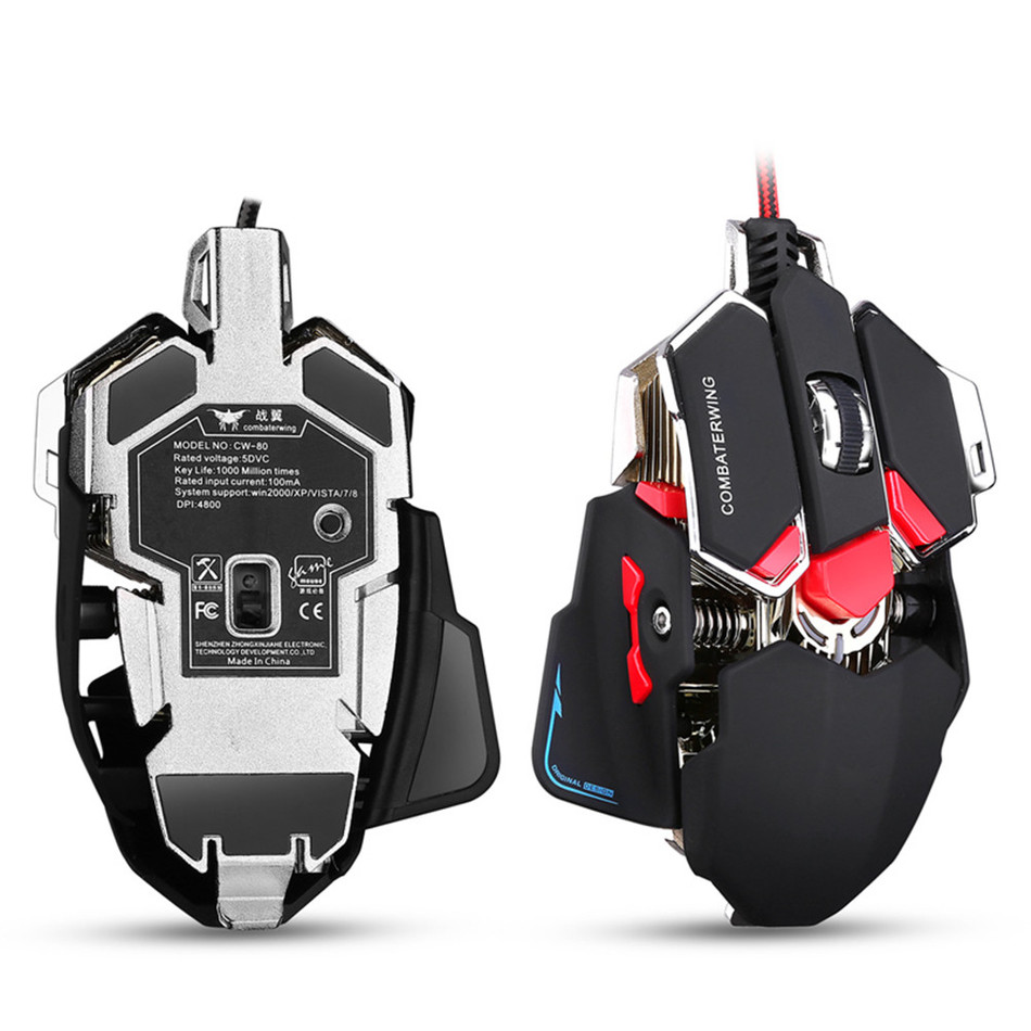 Mchanganyiko wa 4800 DPI Optical Gaming Panya 10 Button Mpangilio Wired Mouse Adjustable Game Panya Drop Shipping