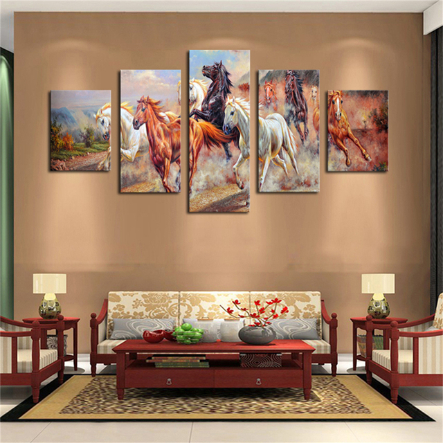 New 5 panels art canvas print home decoration unframed ready to hang horses painting wall decor