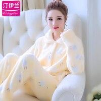 Female Pajamas Winter Thick Flannel Sleepwear Lady Home Furnishing Clothing Students Rabbit Coral Fleece Korean Homewear