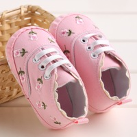 Hot Selling White Flowers Baby Shoes Girls 2017 Cotton Toddler Shoes Sapatos Bebe Casual Sport Infants