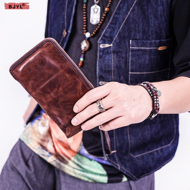 BJYL hommes long portefeuille Rétro fait main en cuir Véritable décontracté d'art jeunes fermeture à glissière sac de téléphone souple ultra-mince porte-cartes en cuir portefeuille