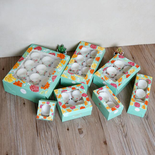 blue YuSang Cupcake Boxes Gift Bakery Holders with Windows Cupcake Cookies Muffin Candy Containers for Holiday Party Wedding Favor 4 holders,12pcs