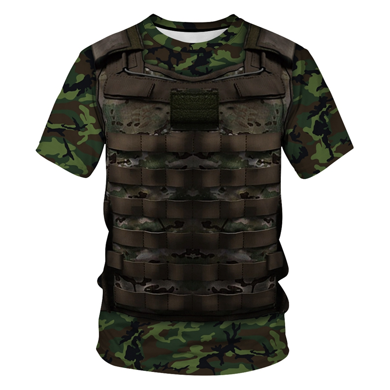 Fashion 3D T Shirt Camouflage Armor Funny Print Casual Short Sleeve T-Shirt Summer Men/Women Unisex Hip Hop Tops Tees