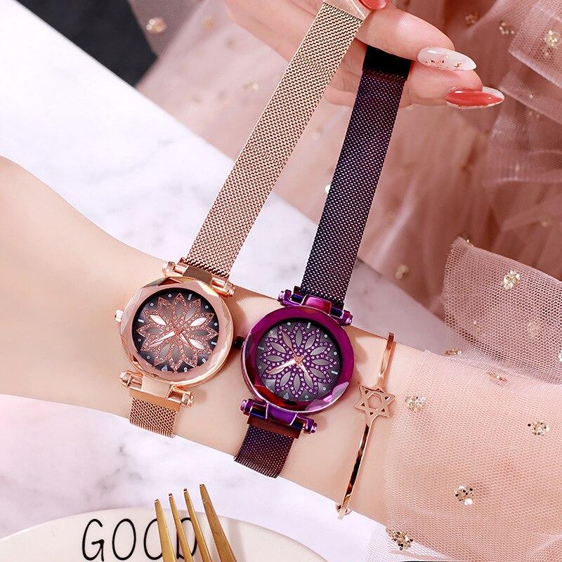 Luxury Women Magnetic Watches Flower Diamond Bracelet Watch Lucky Stainless Steel Band Dress Quartz Clock Relogio Feminino