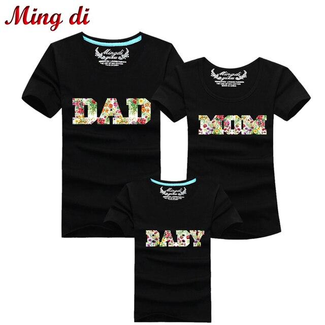 Мин ди письмо папа мама ребенок семьи соответствующие наряды футболка с коротким рукавом семья взгляд девушка мать папа сын одежда продавать