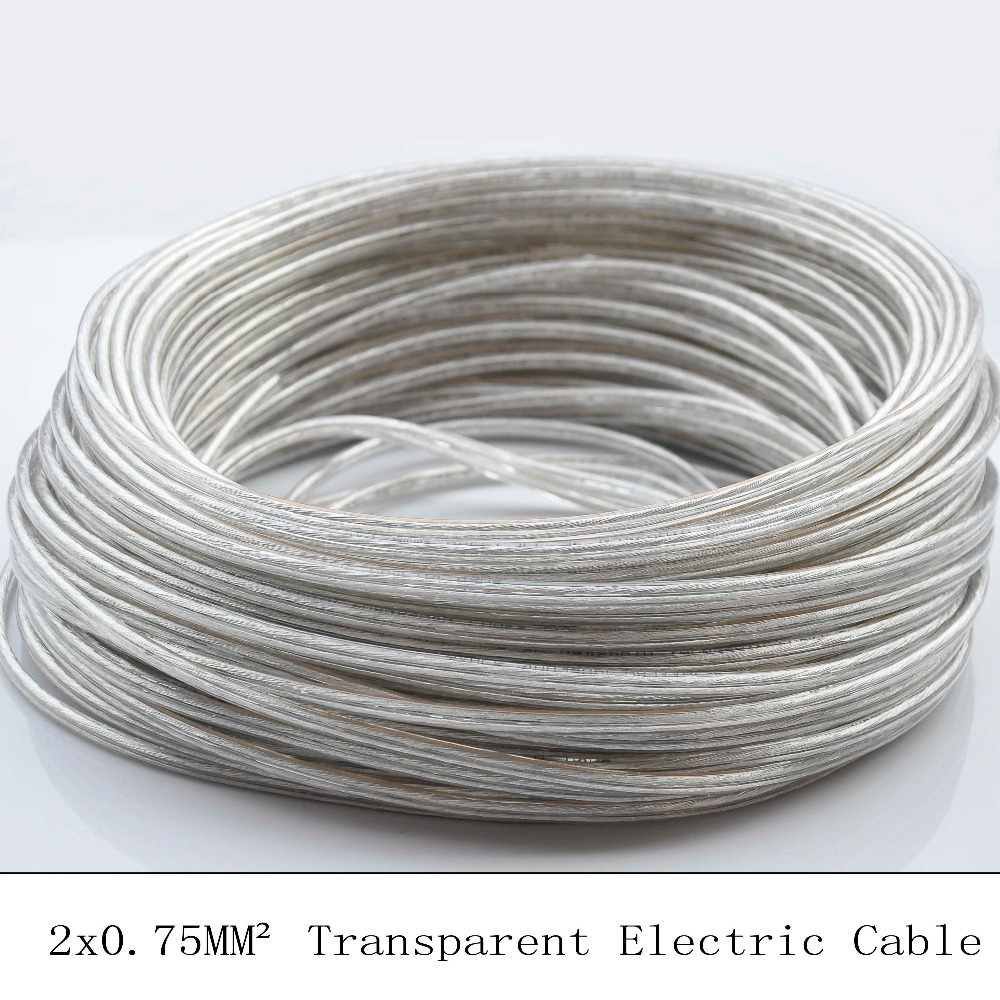 Pendant Light Cable: 10M 2 Core 0.75mm Lamp Switch Wire Transparent PVC