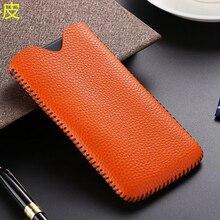 6 cores de couro real puxar manga bolsa caso do telefone para o iphone 6 s 7 8 plus couro genuíno pele vaca carteira saco para iphone8