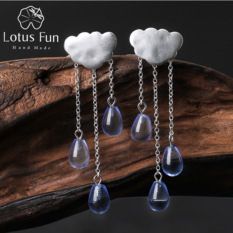 Lotus Fun Real 925 Sterling Silver Drop Earring Natural Handmade Fine Jewelry Ethnic Cloud Long Rumbai Drop Earrings for Women