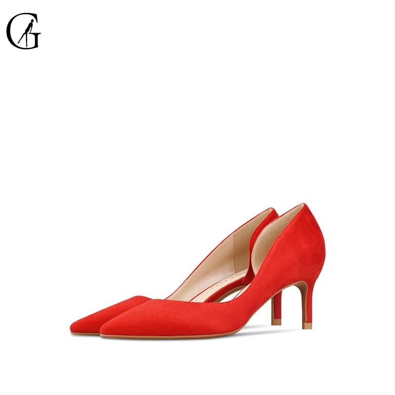 GOXEOU 2019 nowy damskie buty buty na cienkich wysokich obcasach Sexy Pointed Toe Slip on ślub biuro zamszowe ręcznie darmowa wysyłka size32 46 w Buty damskie na słupku od Buty na AliExpress - 11.11_Double 11Singles' Day 1