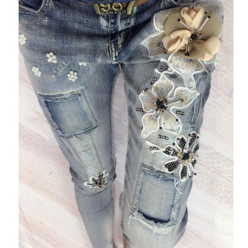 High Vintage Perles 2018 Femmes Jeans Appliques Street Printemps Automne Fashion Pantalon Blanchis L'europe Paillettes Denim Femelle wUqvBIq