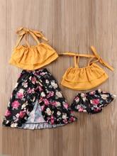 Sister Match Summer Outfits Off Shoulder Strap Crop Tops Floral Tutu Baby Bloomers Shorts Skirt 2PCS Set Family Clothes недорго, оригинальная цена