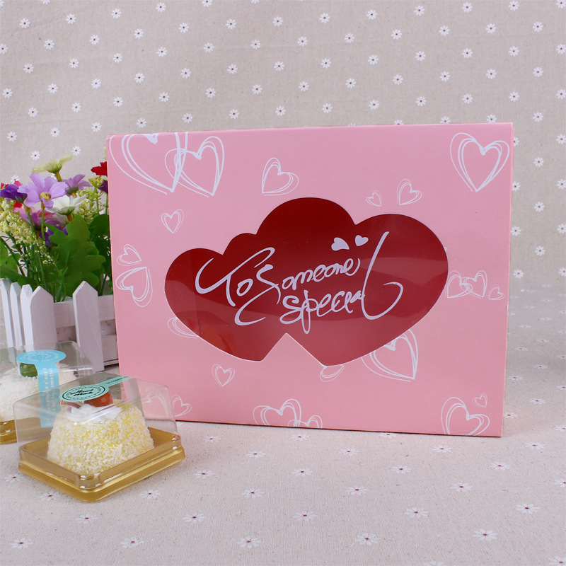 20 Pcs 22x17x5 5cm paper box with window heart shape Drawer Pink paper gift box for wedding Party birthday Cookie Candy cupcake in Gift Bags Wrapping Supplies from Home Garden