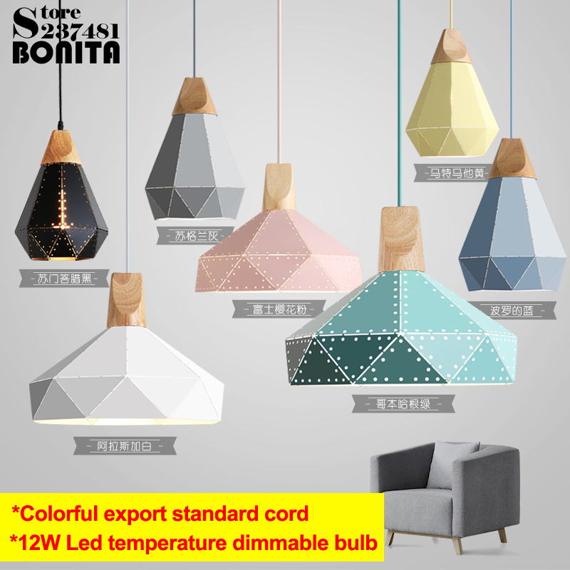 Nordic style Colorful cone droplight Simple luxury pendant lamp wood